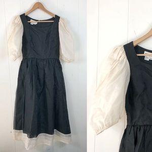 VTG MORTON MYLES Silk Dress Poofy Sleeves Prairie